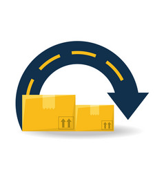 Boxes package service route to delivery vector