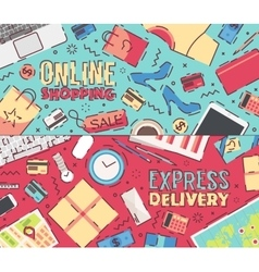 Business online shopping delivery service vector