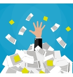 Businessman in pile of documents vector