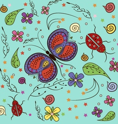 Butterfly lady bug pattern vector