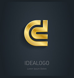 C and D initial gold logo Metallic 3d icon or vector image vector image