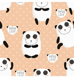 Cartoon pattern with cute panda guru in love vector
