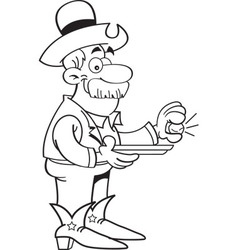 Cartoon prospector with a gold nugget vector