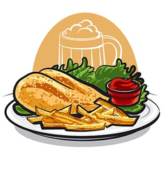 chicken breast with fries vector image