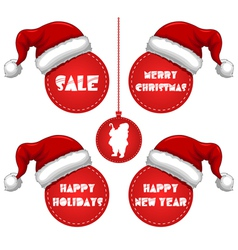 Christmas New Year and Holidays Sale Tag with Cap vector image