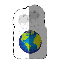 Color earth planet with clouds snow icon vector