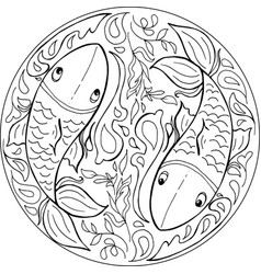 Coloring fishes mandala vector