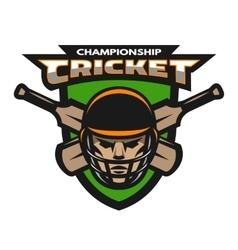 Cricket player beats sport emblem vector