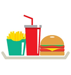Hamburger french fries and a glass of cola in tray vector