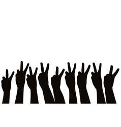 Hands showing victory sign vector