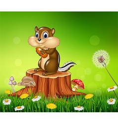 Happy little chipmunk holding nut vector image
