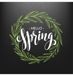 Hello spring spring wreath spring flowers are vector