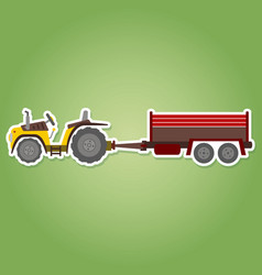 Icon with farm tractor and trailer vector