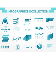 Infographics collection blue world vector