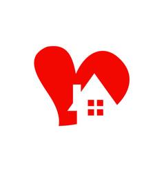 Love heart house logo vector