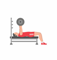 Man pumping up muscles on bench press vector