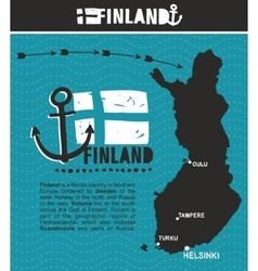 Map of Finland and emblem print vector image vector image