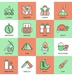 Mountain Climbing Linear Icon Set vector image