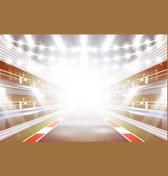 Race track arena with spotlights and finish line vector