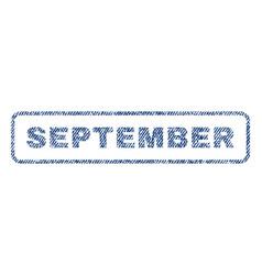 September textile stamp vector
