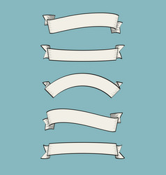 set of old vintage ribbon banners and drawing in e vector image vector image
