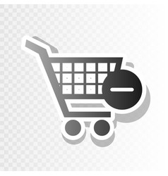Shopping cart with remove sign new vector