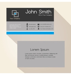 simple gray and blue stripes business card design vector image vector image