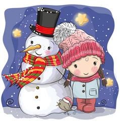 snowman and cute cartoon girl vector image vector image