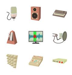 Sound recording studio icons set cartoon style vector