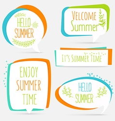Summer banner set logo sticker speech bubble with vector