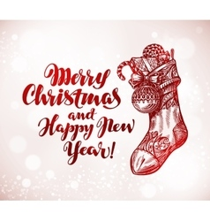 Merry christmas and happy new year xmas sock with vector