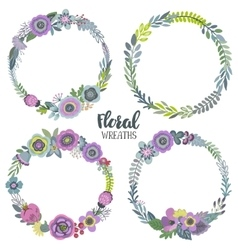 graphic set with four beautiful floral vector image