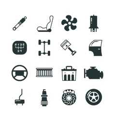 Car parts mechanic icons set vector