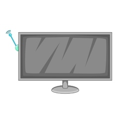 Tv with wi fi connection icon cartoon style vector