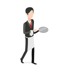 Restaurant waiter walking with an empty tray vector