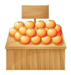 A stand with fruits and an empty signboard vector