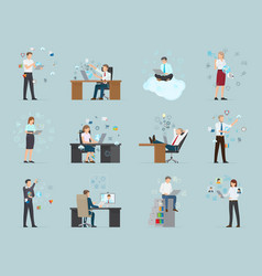 Internet business set of male and female workers vector