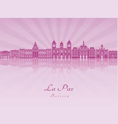 la paz skyline in purple radiant orchid vector image