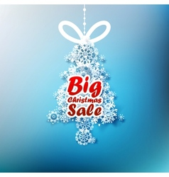 Christmas tree made from snowflakes with big sale vector