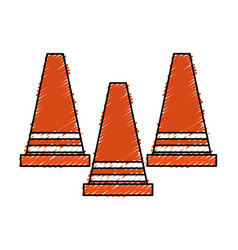 Construction cone isolated icon vector