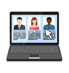 Laptop with candidates list vector
