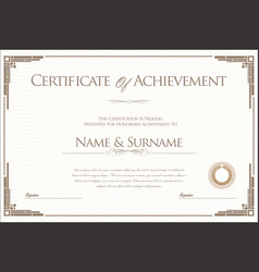 certificate or diploma retro design template 2 vector image