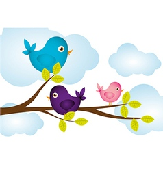 Birds on tree branches clouds in background vector