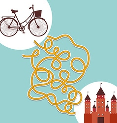 Bicycle and palace labyrinth game for preschool vector