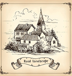 Vineyard landscape - hand drawn vector