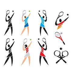 Tennis icons symbols vector