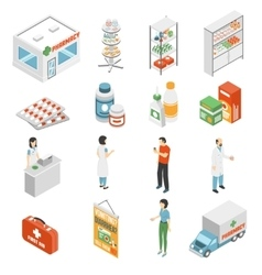 Pharmacy concept isometric icons collection vector