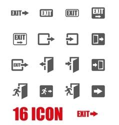 Grey exit icon set vector