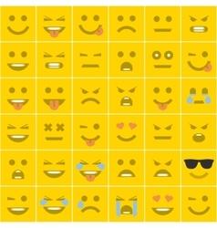 Set orange square smileys vector