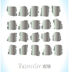 Abstract silver watercolor blots set vector image
